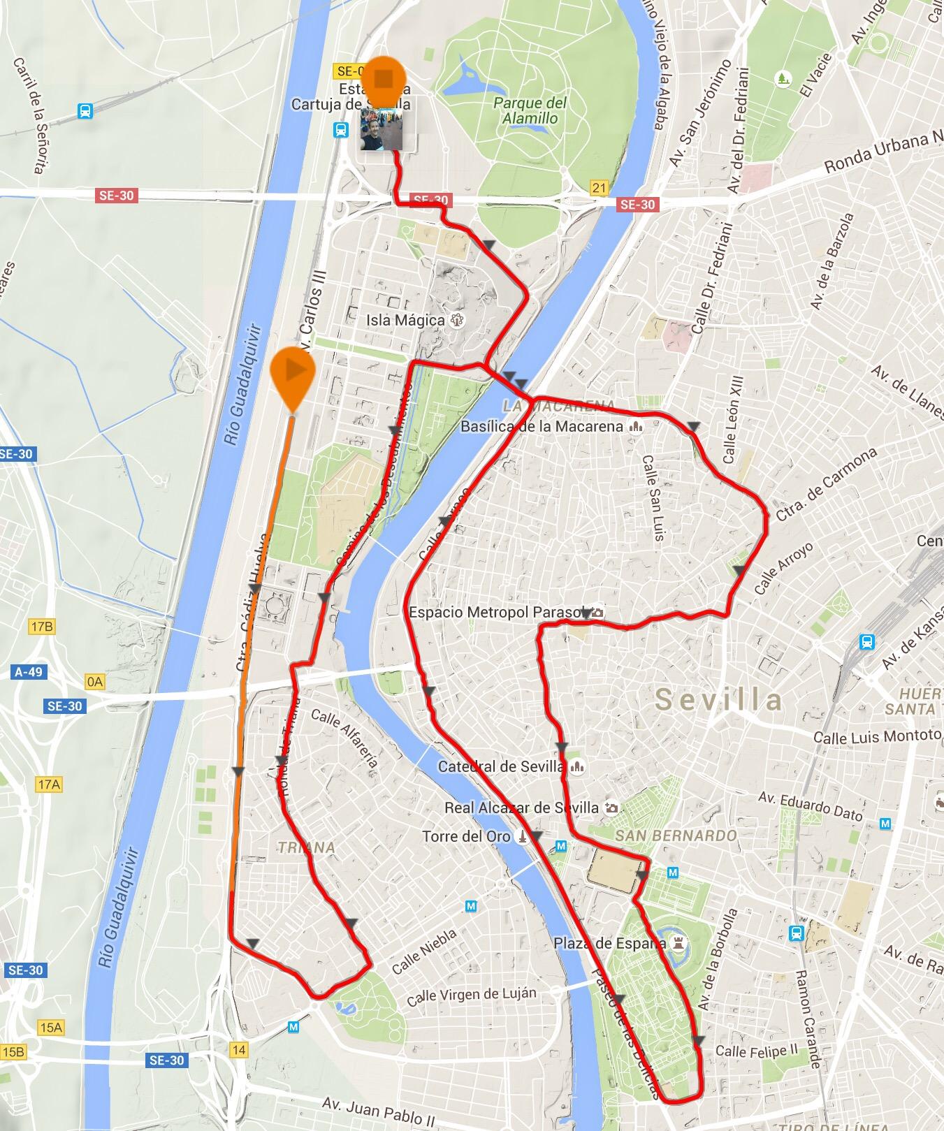 Recorrido de la Medio Maratón de Sevilla